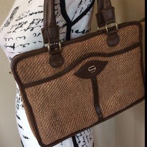 Vintage BAGGS Brown Tweed Handbag Purse Pocketbook